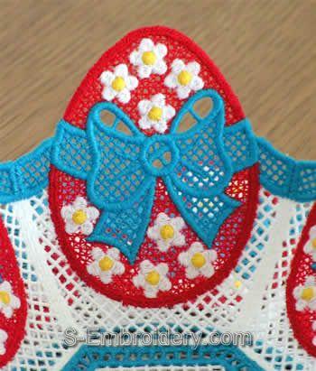 Easter egg freestanding lace bowl - closeup image