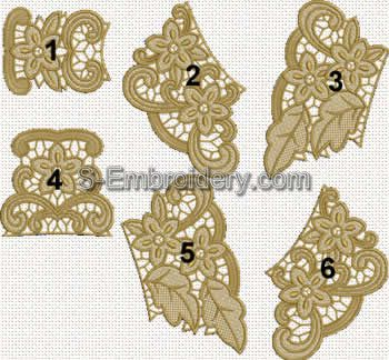 Freestanding table lace embroidery set