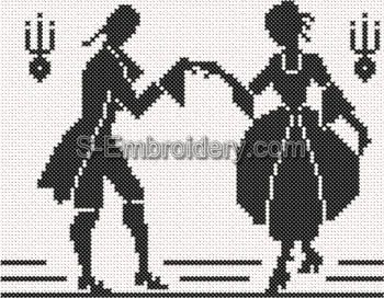 Cross stitch Victorian Silhouette #1
