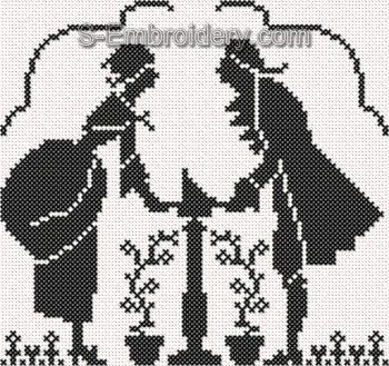 Victorian Silhouette Cross stitch machine embroidery design #3