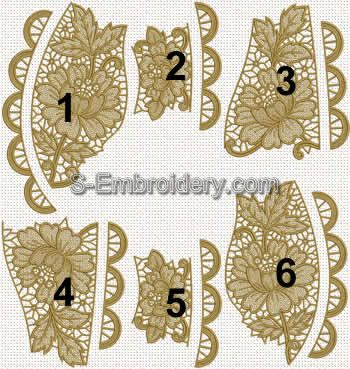 Floral Freestanding Lace table runner - embroidery designs