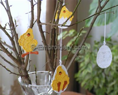 Freestanding Lace Easter Tree Ornaments