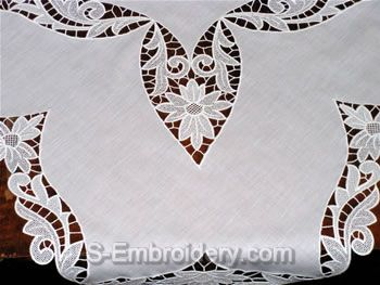 Freestanding lace tablecloth close-up image