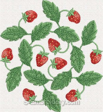 Strawberry Machine Embroidery Design#7