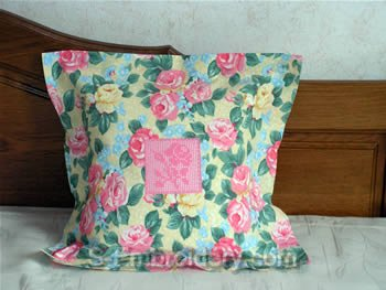 Pillow case with FSL crochet rose square decoration