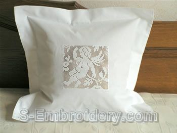 Freestanding lace crochet angel pillow