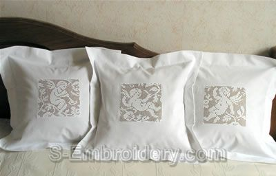 Freestanding lace crochet angels pillows