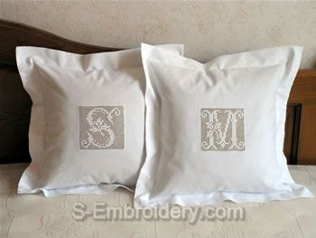 Pillows with crochet monograms