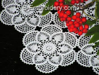 Crochet table lace machine embroidery design
