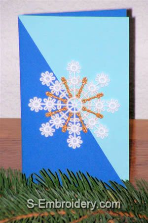 Christmas card with freestanding lace snowflake ornament