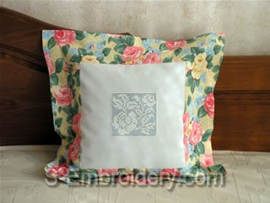 Freestanding lace crochet decorated pillow case