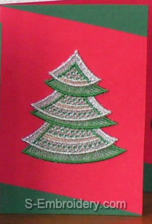 Christmas greeting card with Xmas tree organza lace ornament
