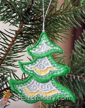 Christmas tree organza lace ornament