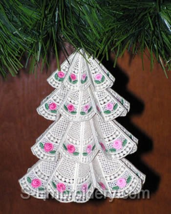 Freestanding lace Christmas tree - hanging