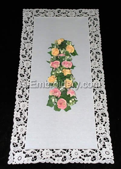 Antique freestanding lace floral table runner