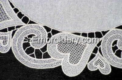 Freestanding lace Valentine doily close-up image