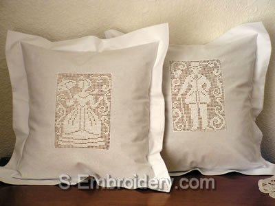 Valentine Freestanding Lace Crochet Embroidery Pillows