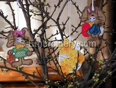 Easter Tree Freestanding Lace Ornaments