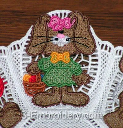 Easter Bunny Freestanding Lace Bowl close-up