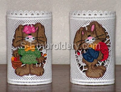 Easter Bunny Freestanding Lace light shades