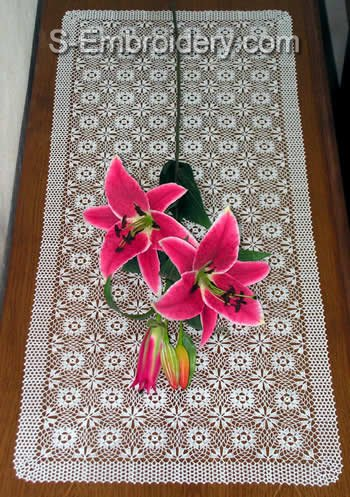 Freestanding Lace Crochet Table Runner Machine Embroidery set