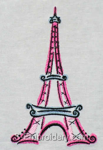 Eiffel Tower Machine embroidery design