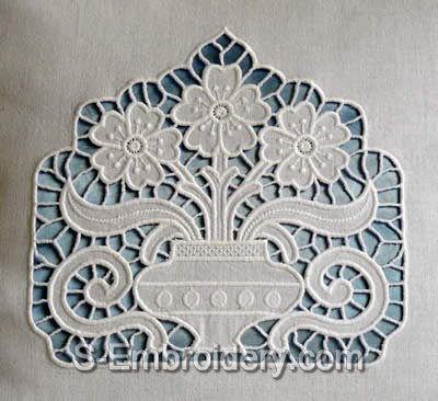 Cutwork Machine Embroidery Designs - 10434 Cutwork Lace Flower Vase Embroidery