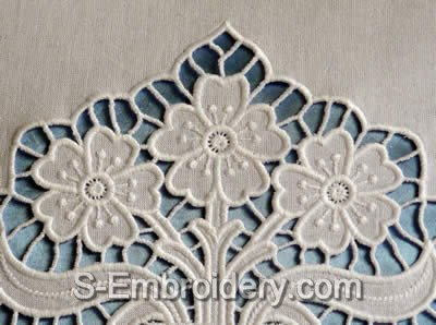 Cutwork lace Flower Vase Machine Embroidery Design - detail