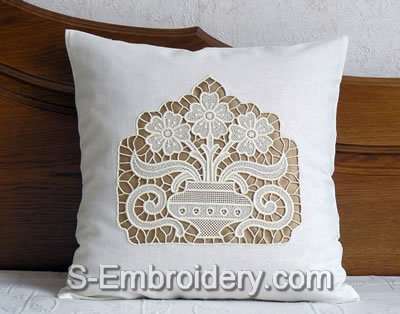 Pillow case with Freestanding Lace Flower vase