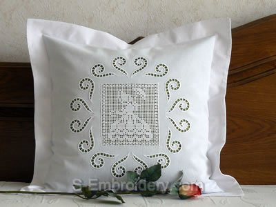 Pillow case with FSL Girl Crochet square and cutwork lace ornaments