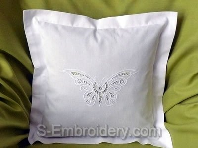 Pillow case with Cutwork lace butterfly machine embroidery design