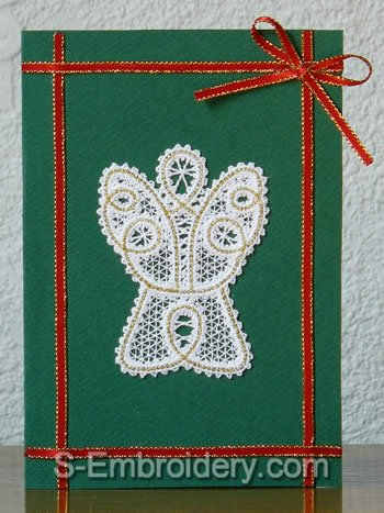 Christmas greeting card with angel battenberg lace ornament