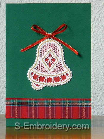 Christmas greeting card with bell battenberg lace ornament