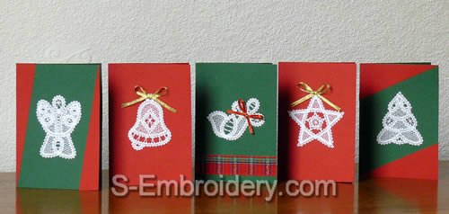 Christmas greeting cards with battenberg lace ornaments