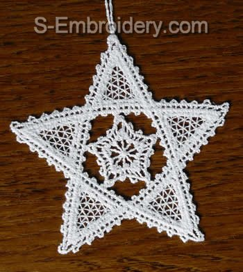 Star Battenberg lace Christmas tree ornament