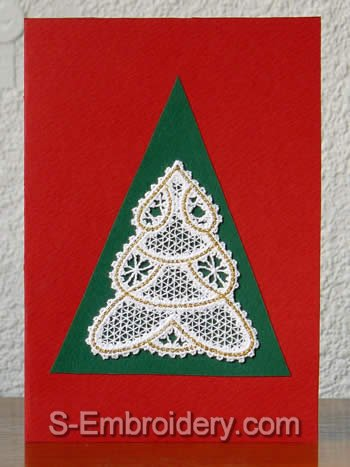Greeting card with Christmas tree battenberg lace ornament