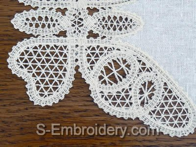 Butterfly Freestanding Battenberg Lace Doily Embroidery design