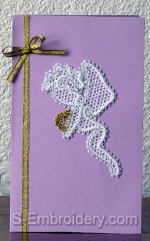 Valentine card with Cherub Battenberg lace decoration