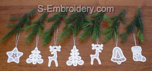 Battenberg lace Christmas tree ornaments