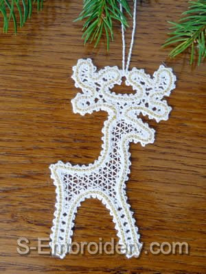 Battenberg Lace Christmas Deer Embroidery design