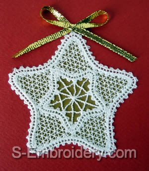 Battenberg Lace Christmas Star Embroidery design