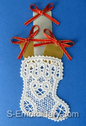 Battenberg Lace Christmas Stocking Embroidery design