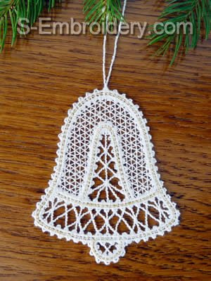 Battenberg Lace Christmas Bell Embroidery design