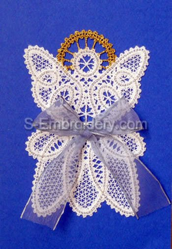 Christmas Angel Battenberg Lace machine embroidery design