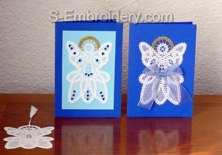 Christmas Angel Battenberg Lace greeting cards and bookmark