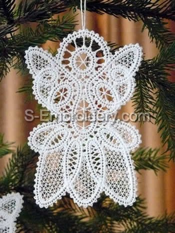 Angel Battenberg Lace Christmas tree ornament embroidery design
