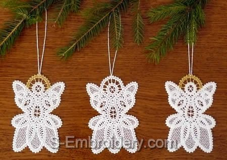 Angel Battenberg Lace Christmas tree ornaments