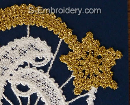 Nativity Battenberg lace embroidery - close-up view