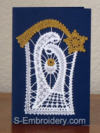 Christmas greeting card with Nativity Battenberg Lace embroidery decoration
