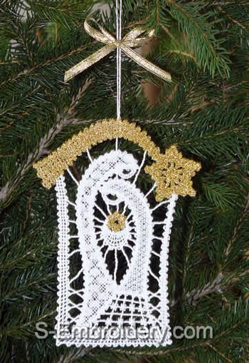 Nativity Battenberg Lace Christmas tree ornament